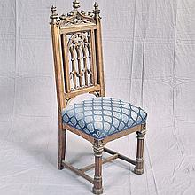 ANTIQUE FRENCH GOTHIC STYLE SIDE CHAIR - Oak chair with cathedral-style top rail, elaborately carved finials, pierced and carved tra...