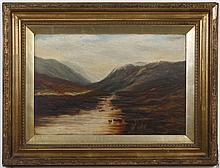 ANTIQUE OIL PAINTING ON BOARD - The landscape, which is unsigned, shows a river, meadows and mountains. Placed in an ornate gold fra...