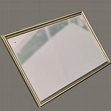 WALL MIRROR - Vintage beveled plate glass with rectangular gilt frame and brass accents. Most likely a former free edge mirror trans...