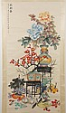 SCROLL: WATERCOLOR ON PAPER - Chinese scroll, signed with artist seal. Shows a still life of flowers and fruit in vases. Condition g...