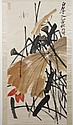 SCROLL: WATERCOLOR ON PAPER - Chinese scroll showing lotus pods and blue dragonfly. Signed with artist seal. Condition good. Late 20...