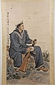 SCROLL: WATERCOLOR ON PAPER - Chinese scroll with an artist seal. Depicts a man in navy uniform holding a rifle. Condition good. Lat...