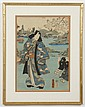 UTAGAWA KUNISADA (1786-1865, Japan) WOODBLOCK ON PAPER - Woodblock showing a man in a blue robe and a child, with cherry blossoms in...