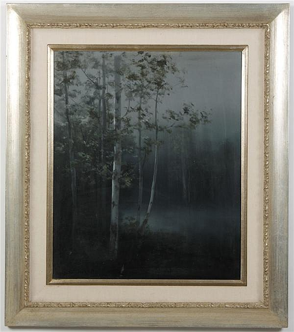 **UPDATED** MIHATO SHIMIZU (1905-1986, CA) OIL ON CANVAS - Of tree and fog. Condition good, light colored mark to lower center. c.19...