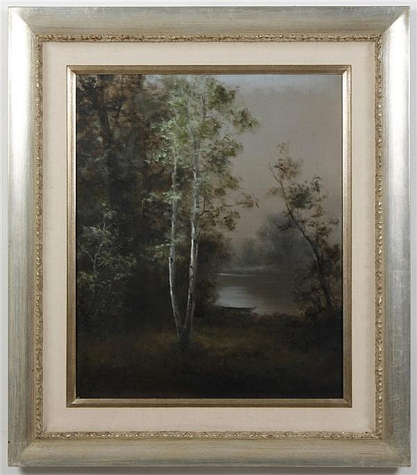 **UPDATED** MIHATO SHIMIZU (1905-1986, CA) OIL ON CANVAS - Landscape with trees and river in distance. Condition good. c.1970. 33