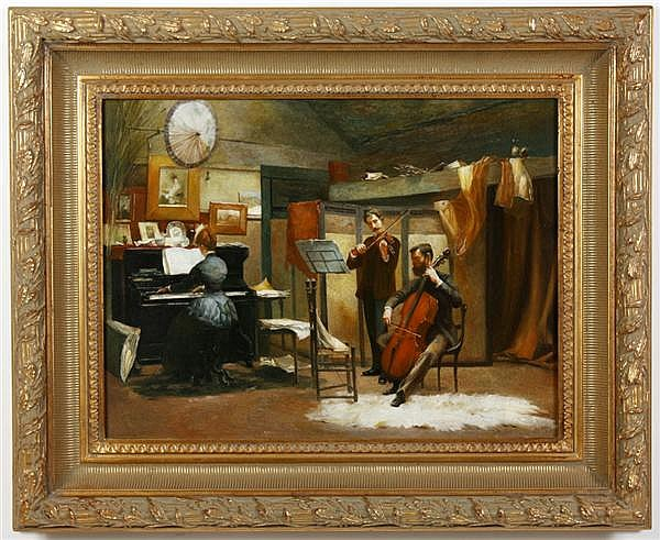 OIL ON CANVAS - Illegible signature; shows three musicians playing in room. Condition good, faded signature. Late 20th century. 27