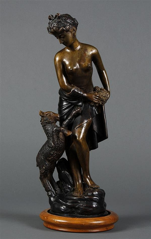 BRONZE CAST SCULPTURE - Of a woman with roses and a goat; in a classical pose. Condition good, no damage noted. Early to mid 20th ce...