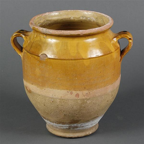 FRENCH GARGOULETTE POT DE CONFIT - Traditional yellow ochre glaze over soft green slip. The pot has double handles and glazed interi...