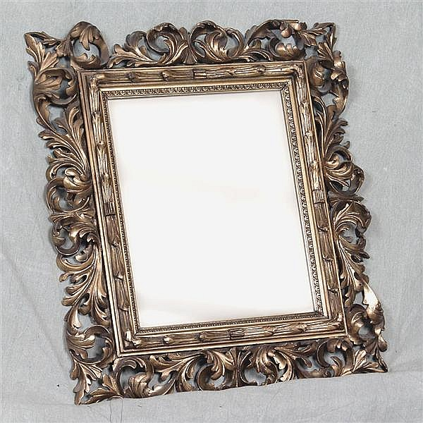 WALL MIRROR - Antique Italian Baroque style with flat plate, gilt gesso over wood frame with scrolling foliate forms and gadrooned i...
