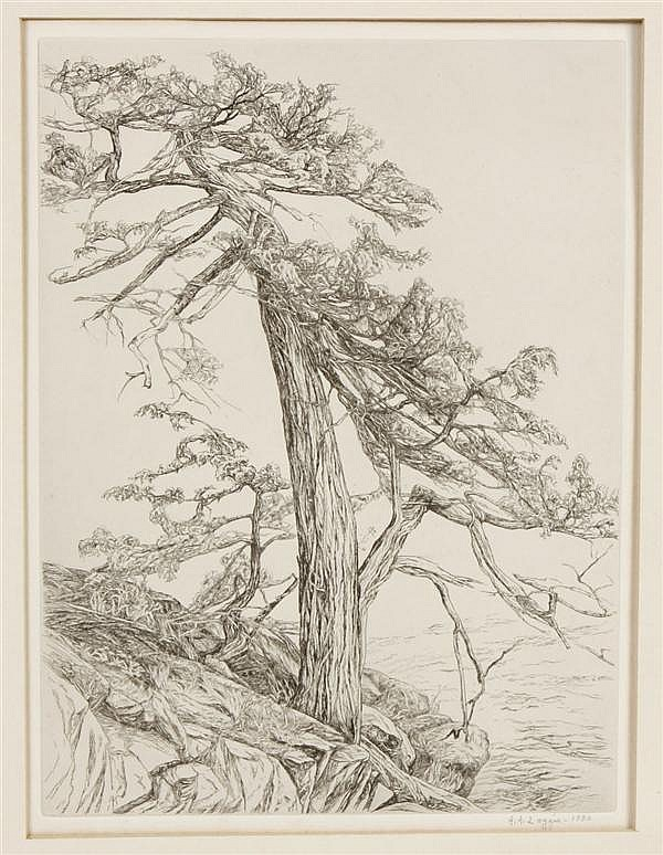 HELEN LOGGIE (1895-1976, WA) ETCHING ON PAPER - Pencil signed, titled