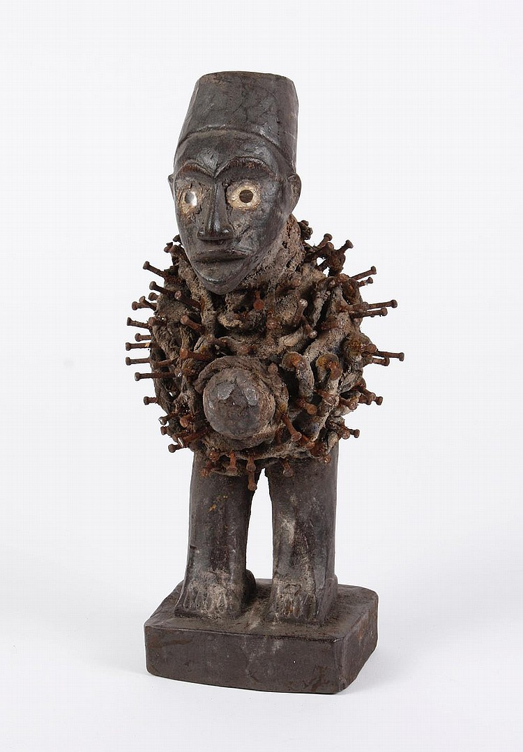 AFRICAN TRIBAL ART: NKISI NAIL FETISH/POWER FIGURE - Kongo peoples, DR Congo