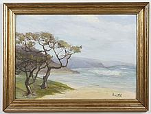 PEASE M.J.E.: ACRYLIC PAINTING ON CANVAS BOARD - Signed lower right. This is a coastal seascape with ocean, trees and mountains in t...