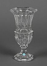 TIFFANY & CO ETCHED CRYSTAL VASE - Hexagonal shape with etched floral sprays. Acid etched mark Tiffany & Co on bottom and blue paper...