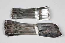 19TH CENTURY COIN SILVER FISH SET FOR TWELVE - Twenty-four pieces, 12 fish forks and 12 fish knives, by Pierman Smith, Bruckmann & S...