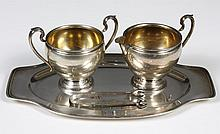 STERLING SILVER SUGAR, CREAMER WITH UNDERTRAY AND TONGS - Marked