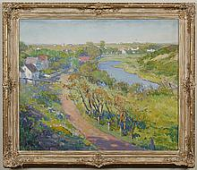 CHARLES EARL BRADBURY (1888-1967, NW/CA) OIL ON CANVASBOARD - Signed lower right, painting of a sunny landscape with village, lake a...