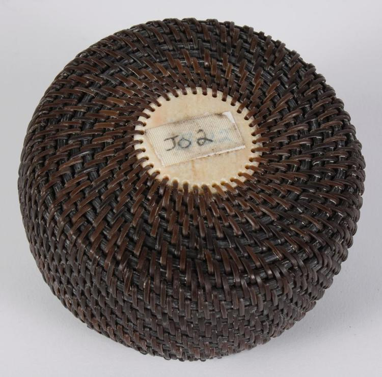 Woven Disc Basket : Baleen lidded basket with seal finial handle tightly woven