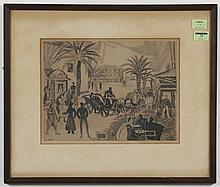THOMAS HANDFORTH (1897-1948, WA) ETCHING - Pencil signed, lower right and numbered 27/50. Etching pictures a busy street scene. Cond...