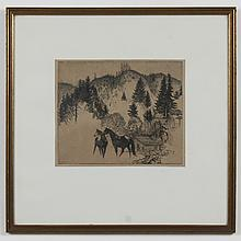 THOMAS HANDFORTH (1897-1948, WA) ETCHING ON PAPER - Pencil signed, lower right. Etching of horses with mountains in the background....