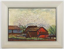 EMERY GELLERT (1889-1981, CA) OIL ON BOARD - Signed, at lower right. Landscape painting featuring a red barn. Condition good; minor...