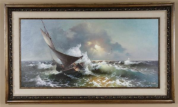 EUGENE GARIN (1922-1994, Russian Federation) OIL ON CANVAS - Large sailboat in crashing waves and with distant seagulls - Late 20th....