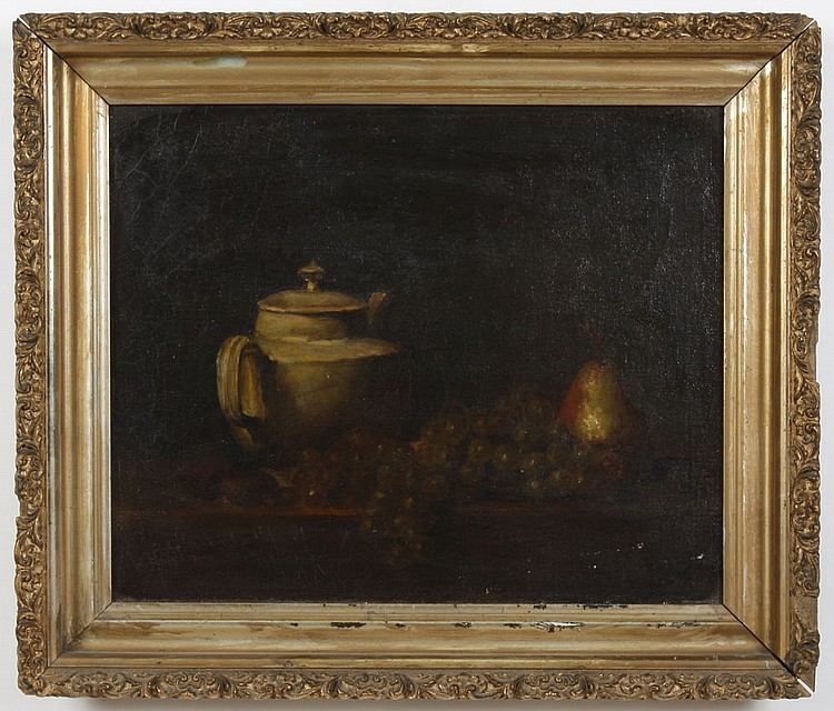 OIL ON CANVAS - Unsigned still life with pear, grapes and pitcher. Condition good; scattered craquelure. Late 19th century. 18.5