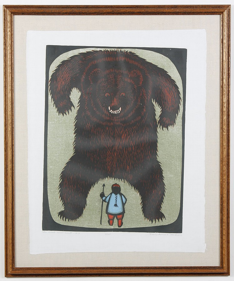 """DALE DE ARMOND (1914-2006, AK) WOODBLOCK ON PAPER - Pencil signed and numbered 8/25. Titled """"The Last Bear Hunt - #13"""" of large bear..."""