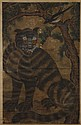 WATERCOLOR ON PAPER - Scroll of tiger and bird perched in tree. Condition good to fair; scattered creases and paper loss. Early to m...