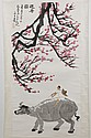 WATERCOLOR ON PAPER - Chinese scroll of water buffalo under a cherry blossom tree; with artist seal. Condition good. Late 20th centu...