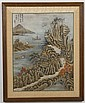 WATERCOLOR AND GOUACHE ON PAPER - Chinese landscape with river; with artist seals. Condition good. Mid to late 20th century. 25.5