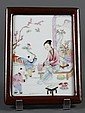 SMALL CHINESE PORCELAIN PLAQUE - Chinese porcelain plaque in rosewood frame depicting a domestic scene of a young woman with two boy...