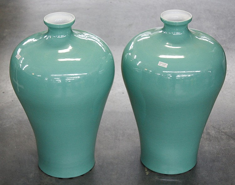 PAIR OF CHINESE PORCELAIN VASES - Pair of Mei Ping shaped aqua porcelain vases. Condition good. 23