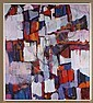 ALLEN WOLF (Washington/New York) OIL ON CANVAS - Signed geometric abstract in dark purples, oranges and reds - Condition good - Late..., Allen Wolf, Click for value