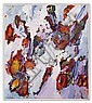 ALLEN WOLF (Washington) OIL ON CANVAS - Signed abstract in lavender, oranges and reds - A partial Francine Seders Gallery (Seattle)...., Allen Wolf, Click for value