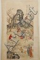 WATERCOLOR ON PAPER - Chinese seal with artist seal, of group of men at table in garden. Condition good. Mid 20th century. 35