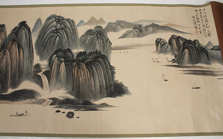 CHINESE HORIZONTAL SCROLL - Landscape with artist seal, of mountains, trees and small boats
