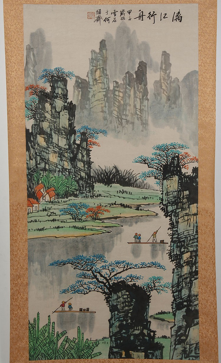 CHINESE SCROLL - Landscape with mountains, ponds and small boats; with artist seal. Condition good. Mid to late 20th century. 52.5