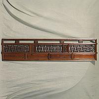 TRANSOM PANEL - Antique Chinese pine with geometric lattice-work panels alternating with solid relief carved panels