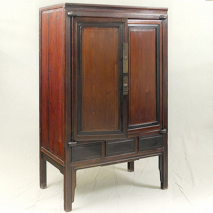 DOUBLE DOOR ARMOIRE - Antique Chinese pine with inset elmwood door panels, ebonized accents, interior shelving and storage drawers,...