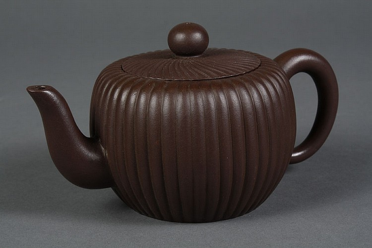 CHINESE YI XING CLAY TEA POT - Chocolate brown with a ribbed design and cover. With stamp to base. Condition excellent, no damage no...