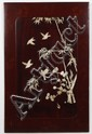 JAPANESE WOODEN PANEL WITH BONE APPLIQUE - With lacquered border with scene of six birds and bamboo fabricated in sculpted bone