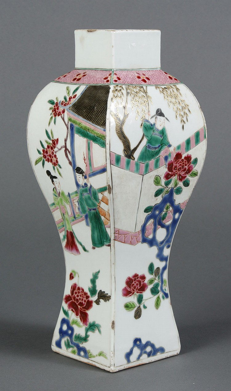CHINESE PORCELAIN SQUARE SHAPED VASE - Famille rose vase with flared shoulders and tapered base; decorated with garden and courtyard...