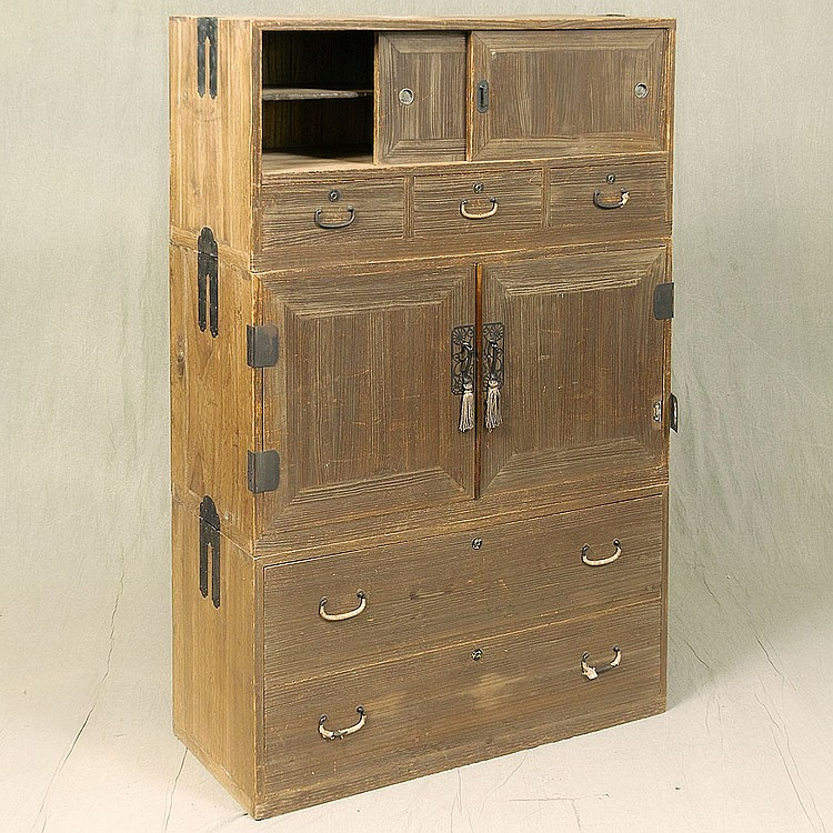 STACKING TANSU - Antique Japanese triple stack keyaki wood with multiple storage compartments, double door center compartment, lower...