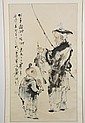 WATERCOLOR ON PAPER - Chinese scroll of fisherman and child; with artist seal. Condition good. Late 20th century. 37