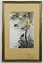 WATERCOLOR ON PAPER - Chinese painting of birds and trees; unsigned. Condition good. Late 20th century. 29