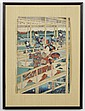 UTAGAWA YOSHITORA (active 1850-1888, Japan) WOODBLOCK ON PAPER - Shows several women on patio overlooking river; with artist seal. C...