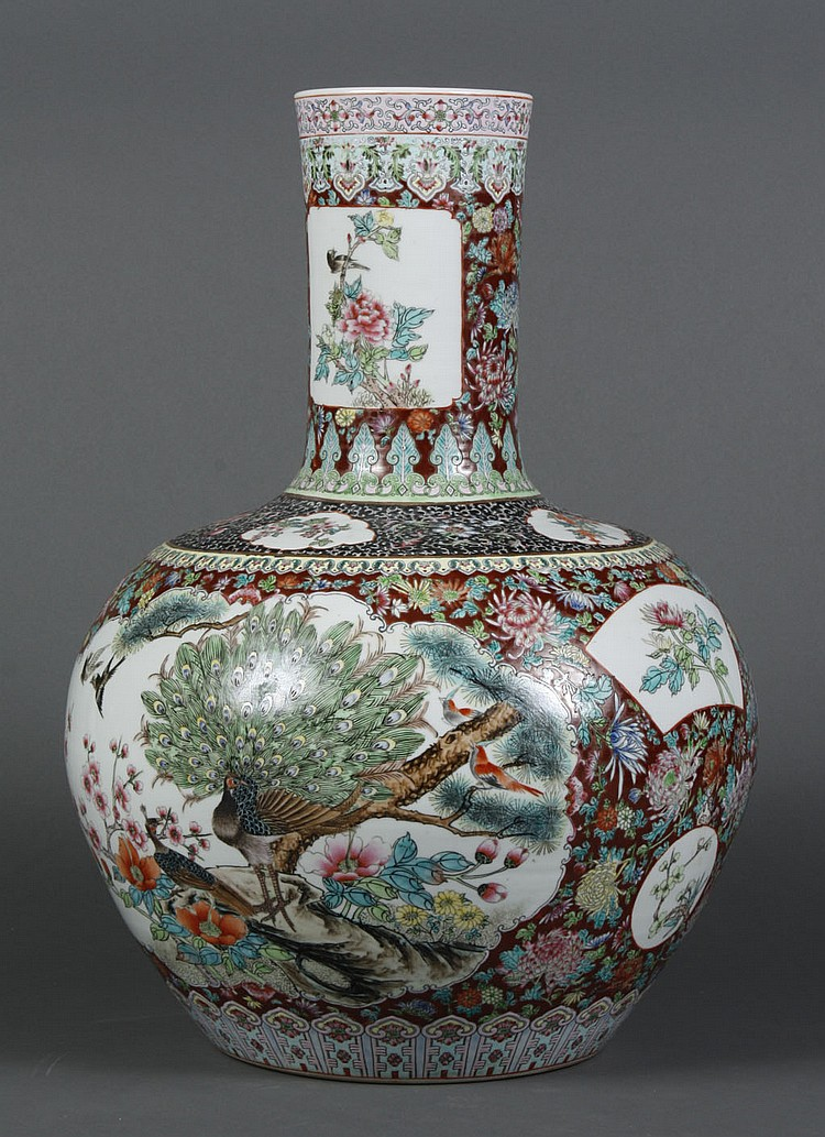 LARGE CHINESE GLOBULAR PORCELAIN VASE - With multicolor polychrome decoration on white porcelain of two scenes; one of peacocks and...