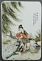 CHINESE PORCELAIN PLAQUE - Young woman seated on a rock underneath a weeping willow tree gazes into a pond; several skates appear on...
