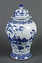 LARGE CHINESE BLUE AND WHITE PORCELAIN JAR - Baluster shaped jar with multiple layers of floral and ruyi decoration; figural detail....