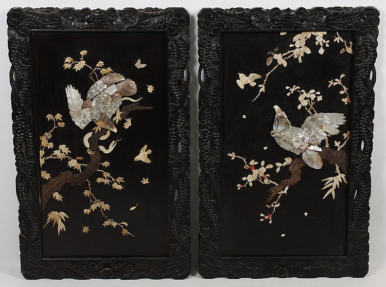 TWO CHINESE PANELS INLAID WITH SHELL AND BONE - Two framed panels, one of which portrays a hawk eyeing a songbird and the other a ha...